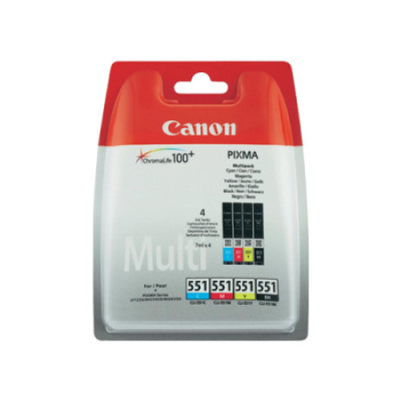 Canon CLI-551 Black + Colour Ink Cartridge Multipack BK/C/M/Y Original