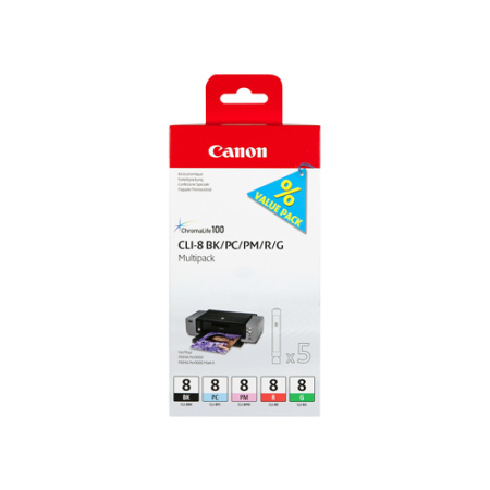 Canon CLI-8 Original Ink Cartridge Photo Multipack BK/PC/PM/R/G - 5 Pack