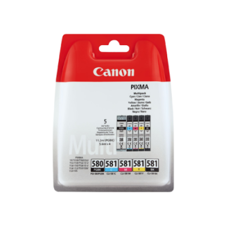 Canon PGI-580 CLI-581 Multipack Ink Cartridges BK/C/M/Y/PBK Original