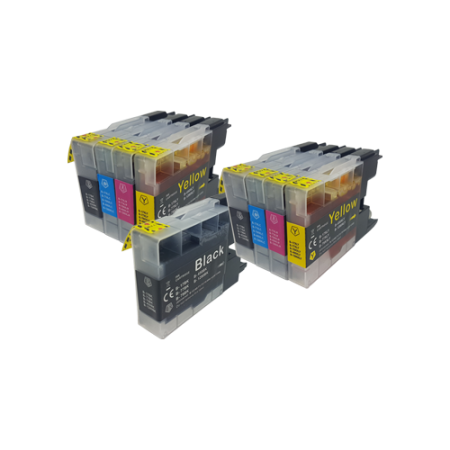 Compatible Brother LC1240 Ink TWIN PACK with Free Black - 9 Inks