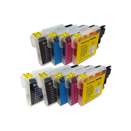 Compatible Brother LC980 Ink Cartridge TWIN Multipack + Free Black Ink - 9 Inks