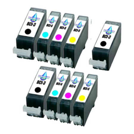 Compatible Canon BCI-6 Colour Pack with BCI-3 Black Ink TWIN PACK with Free Black - 9 Inks