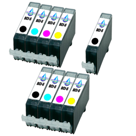 Compatible Canon BCI-6 Colour Pack with BCI-6 Black Ink TWIN PACK with Free Black - 9 Inks