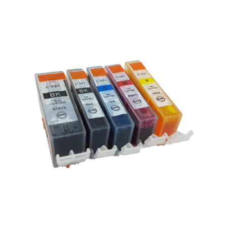 Compatible Canon CLI-521 and PGI-520 Ink Complete Pack (No Grey) - 5 Inks