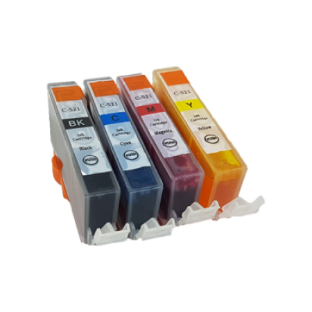 Compatible Canon CLI-521 Ink Complete Pack - 4 Inks