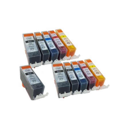 Compatible Canon CLI-521 PGI-520 Ink TWIN PACK + Free PGI-520 Black - 11 Inks