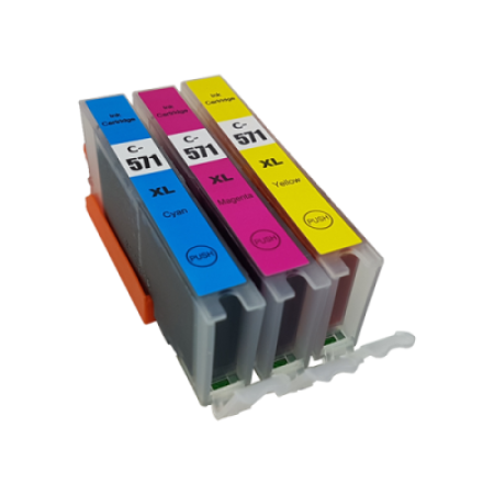 Compatible Canon CLI-571XL Ink Cartridge Colour Triple Pack C/M/Y