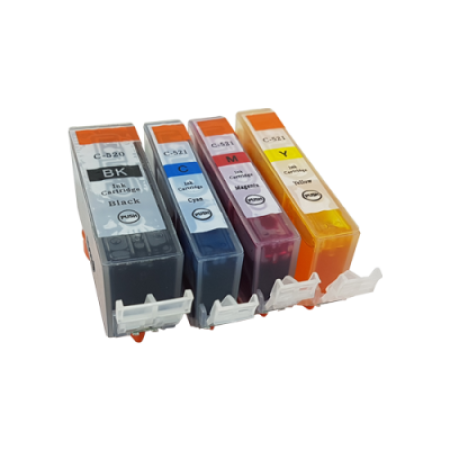 Compatible Canon PGI-520BK CLI-521C/M/Y Ink Cartridge Pack - 4 Inks