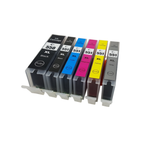 Compatible Canon PGI-550XL CLI-551XL Ink Cartridge Multipack - 6 Inks