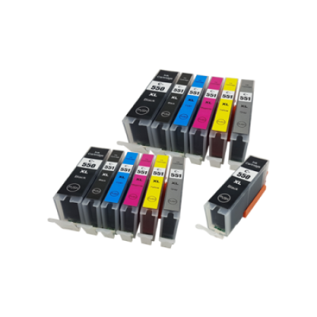 Compatible Canon PGI-550XL CLI-551XL Ink Cartridge TWIN Multipack + FREE PGI-550XL - 13 Inks