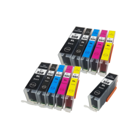 Compatible Canon PGI-550XL CLI-551XL Ink Cartridge TWIN Multipack (No Grey) + Free PGI-550XL - 11 Inks