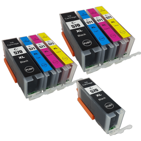 Compatible Canon PGI-570 CLI-571 Ink Cartridge TWIN Multipack + Free PGI-570 (No Photo Black) - 9 Inks