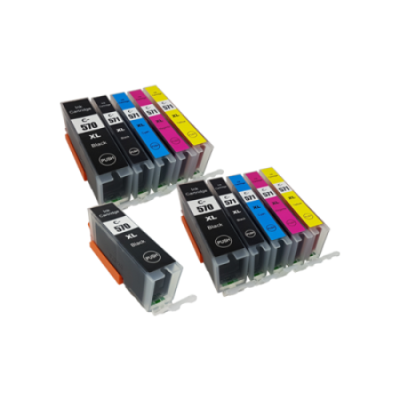 Compatible Canon PGI-570XL CLI-571XL Ink Cartridge TWIN Multipack + FREE PGI570XL - 11 Inks