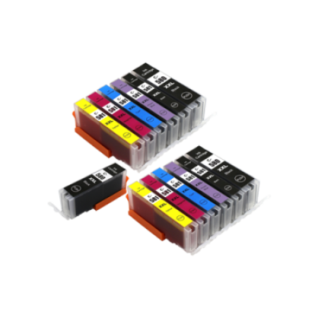 Compatible Canon 580/581 XXL Ink Cartridge TWIN Multipack + FREE Black Ink [13 Pack] BK/C/M/Y/PBK/B