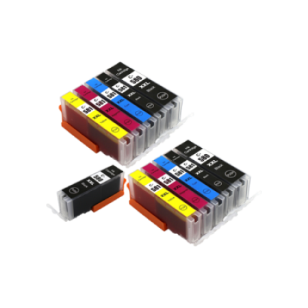 Compatible Canon 580/581 XXL Ink Cartridge TWIN Multipack + FREE Black Ink [No Blue] [11 Pack] BK/C/M/Y/PBK
