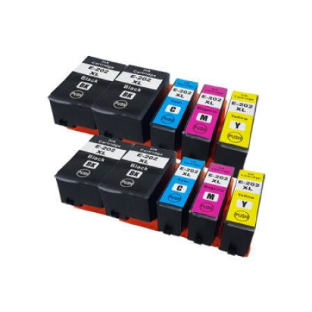 Compatible Epson 202XL Ink Cartridge Twin Pack + 2 Free Blacks - 10 Inks (No Photo Black)