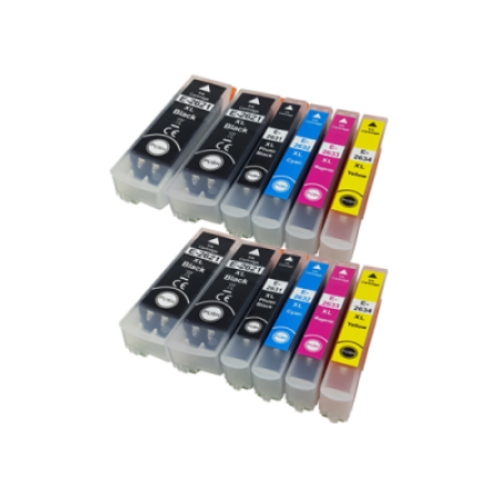 Compatible Epson 26XL T2616 Twin Pack + 2 FREE Blacks (with photo black) - 12 Inks