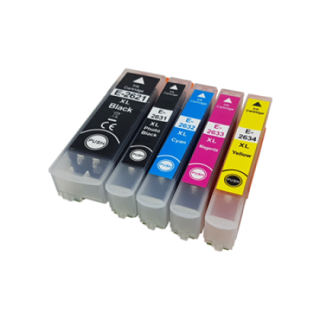 Compatible Epson 26XL Multipack Ink Cartridges (+ Photo Black) [5 Pack] BK/C/M/Y/PB