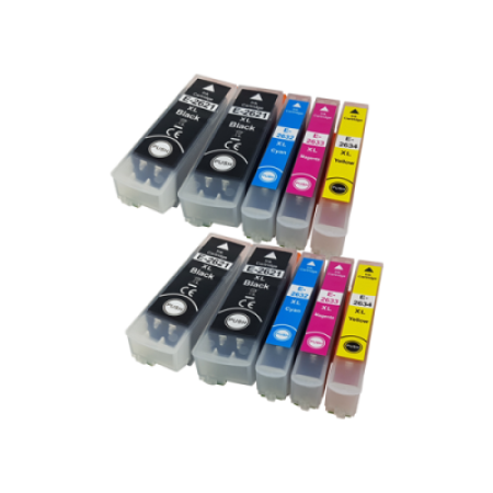 Compatible Epson 26XL T2636 Twin Pack + 2 FREE Blacks (no photo black) - 10 Inks