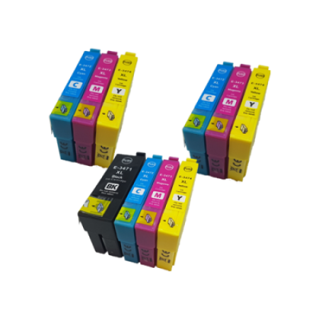 Compatible Epson 34XL T3471/2/3/4 Ink Cartridge Colour Mixed Pack - 10 Inks