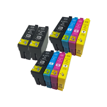 Compatible Epson 34XL T3471/2/3/4 Ink Cartridge Twin Pack + 2 FREE Black Inks - 10 Inks