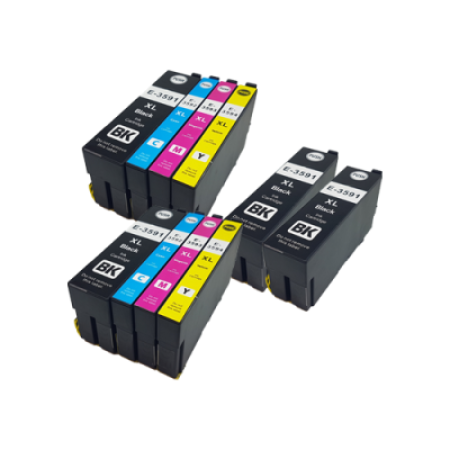 Compatible Epson 35XL Ink Cartridge TWIN Multipack + 2 FREE Black Ink [10 Pack] BK/C/M/Y