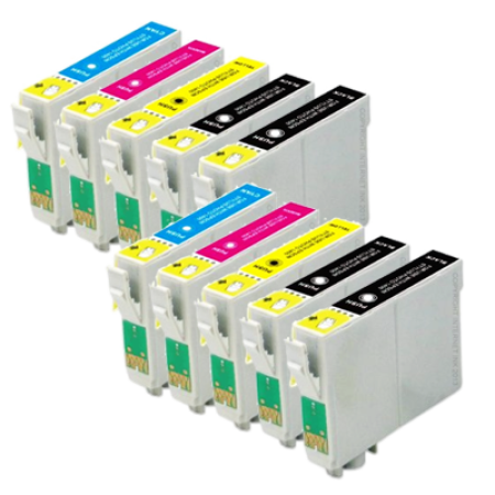 Compatible Epson T0441/2/3/4 Ink Cartridge TWIN Multipack + 2 Free Black Inks - 10 Inks