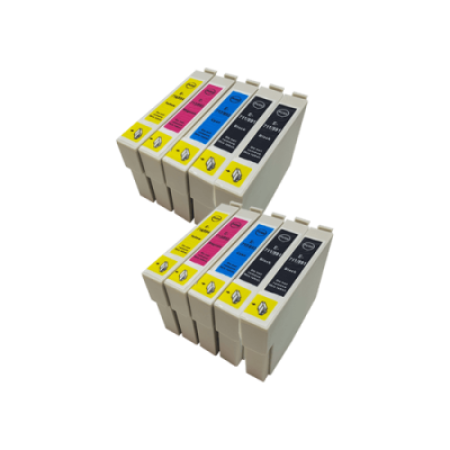 Compatible Epson T0711 - T0714XL Twin Pack + 2 FREE Black Inks - 10 Inks