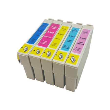 Compatible Epson T0802-T0806 Ink Cartridge Colour Multipack C/M/Y/LC/LM