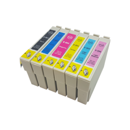 Compatible Epson T0807 (T0801-T0806) Ink Cartridge Multipack BK/C/M/Y/LC/LM