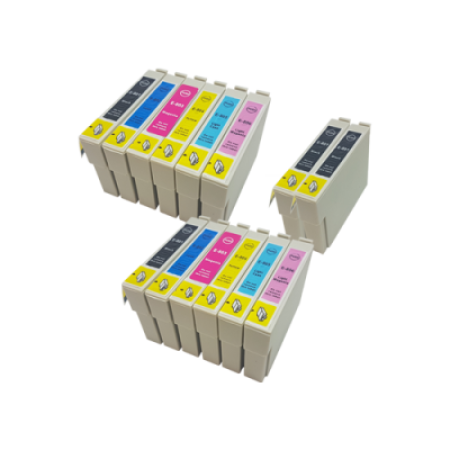 Compatible Epson T0807 (T0801-T0806) Ink Cartridge Twin Pack + 2 Free Black Inks - 14 Inks