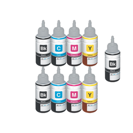 Compatible Epson T664 Ecotank Ink Bottle TWIN Multipack + FREE Black - 9 Inks
