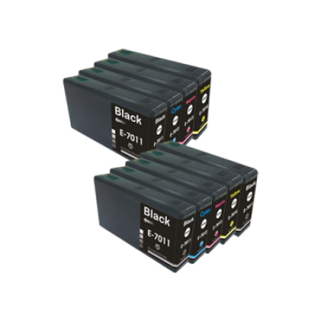 Compatible Epson T7011 - T7014 XXL Ink Cartridge Twin Pack With 1 Free Black - 9 Inks