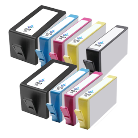 Compatible HP 920 XL Ink Complete TWIN PACK with Free Std Black - 9 Inks