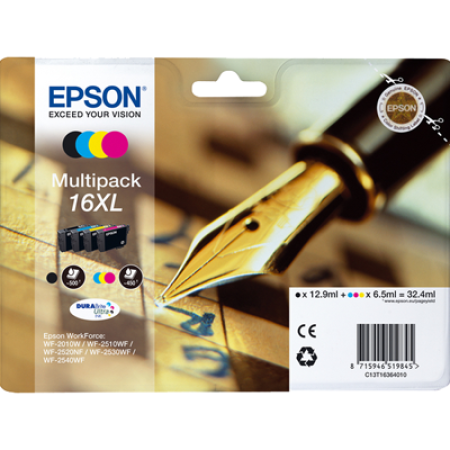 Epson 16XL T1636XL Multipack (T1631/2/3/4) Ink Cartridges BK/C/M/Y Original