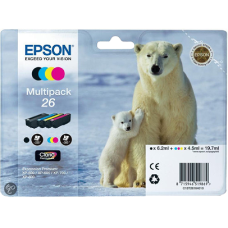 Epson 26 T2616 Original Ink Cartridge Multipack BK/C/M/Y
