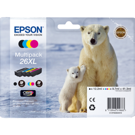 Epson 26XL T2636 Multipack Ink Cartridges Original BK/C/M/Y