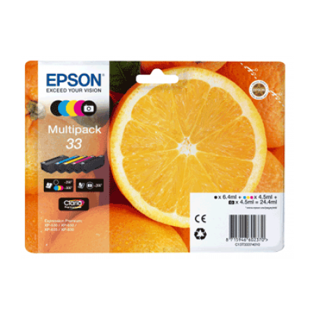 Epson 33 T3337 Multipack Ink Cartridges BK/C/M/Y/PBK Original