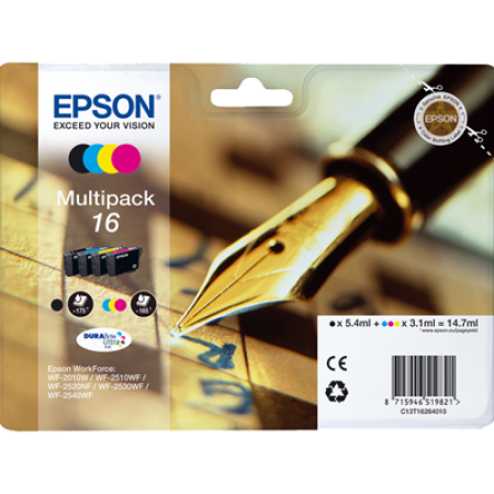 Epson T1626 Multipack Ink Cartridges BK/C/M/Y Original