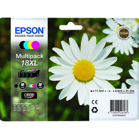 Epson 18XL Multipack Ink Cartridges T1816 BK/C/M/Y Original