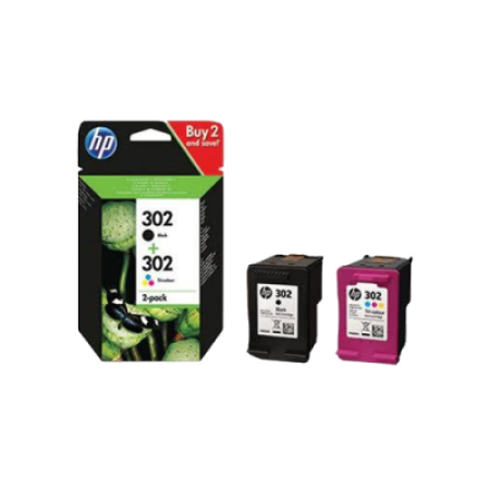 HP 302 Black + Colour Multipack Original Ink Cartridges BK/C/M/Y