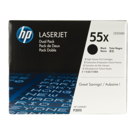 HP 55X CE255XD Toner Cartridge Twin Multipack Black High Capacity Original