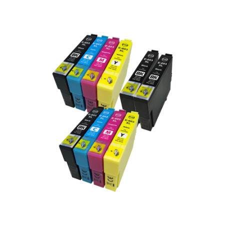 Compatible Epson 603XL Ink Cartridge TWIN Multipack + 2 FREE Black Ink [10 Pack] BK/C/M/Y