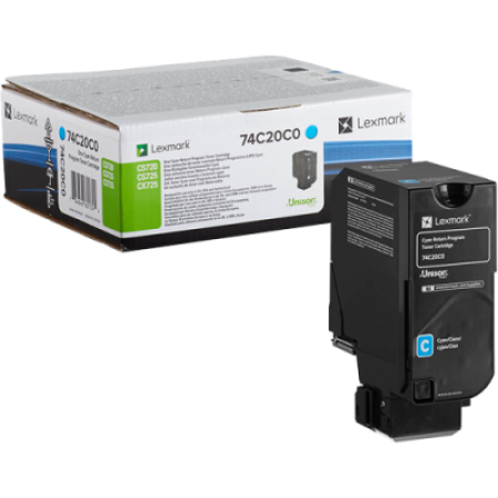 Lexmark 74C20C0 Cyan Return Toner Cartridge