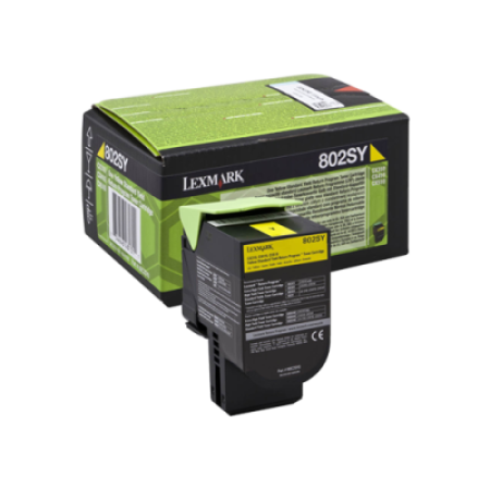 Lexmark 802SY Yellow Return Program Toner Cartridge (2K)