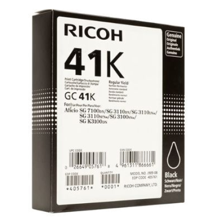 Ricoh GC41K Gel Ink Cartridge 405761 Black Original