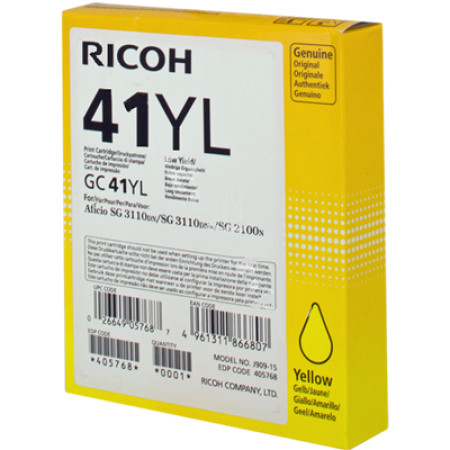 Ricoh GC41YL Gel Ink Cartridge 405768 Yellow Original