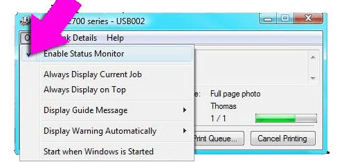 Disable Status Monitor on Canon Printer