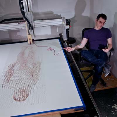 Artist Uses Robotic Printer to Print Using his Own Blood