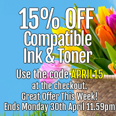 Save 15% Off Compatible Ink and Toner!